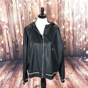 *627 H&M Faux Leather Hoodie